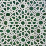 Moroccan tile pattern in a  riad Fes Morocco